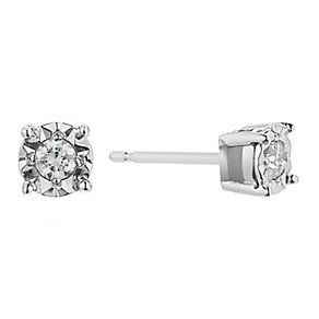 9ct White Gold Diamond Illusion Set Earrings - Product number 2200201