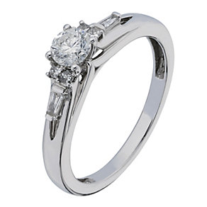 9ct White Gold Baguette Shoulder Diamond Solitaire - Product number 2200228