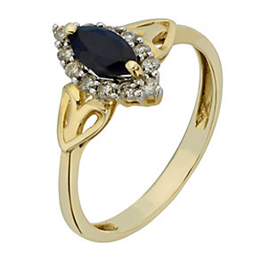 9ct Yellow Gold Diamond & Marquis Cut Sapphire Ring - Product number 2200376