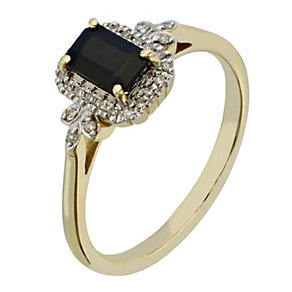 9ct Yellow Gold Diamond & Sapphire Ring - Product number 2200678