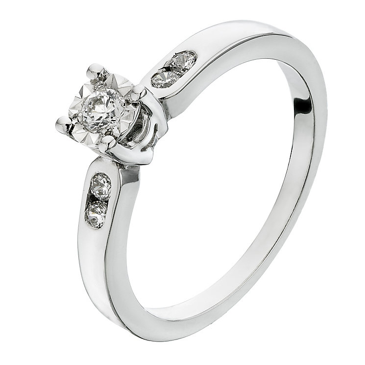 9ct White Gold Diamond Illusion Solitaire Ring - Product number 2200805
