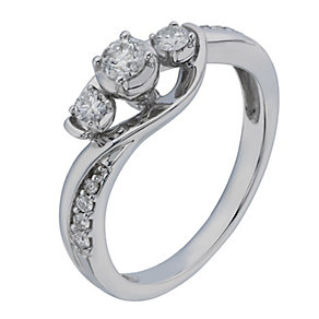 9ct White Gold 1/3 Carat Diamond Trilogy Ring - Product number 2201070