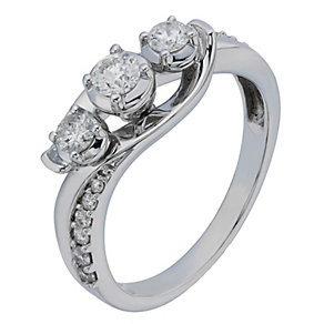 9ct White Gold 1/2 Carat Diamond Trilogy Ring - Product number 2201208