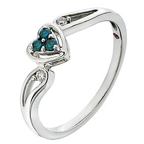 Cherished Silver Treated Blue Diamond Heart Cluster Ring - Product number 2201321