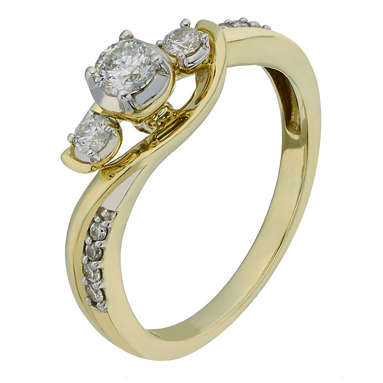 9ct Yellow Gold 1/4 Carat Diamond Trilogy Ring - Product number 2201453
