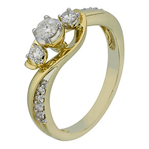 9ct Yellow Gold 1/3 Carat Diamond Trilogy Ring - Product number 2201593