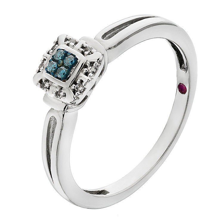Cherished Silver Treated Blue Diamond Square Cluster Ring - Product number 2201720