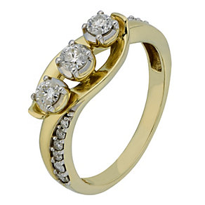 9ct Yellow Gold 1/2 Carat Diamond Trilogy Ring - Product number 2201860