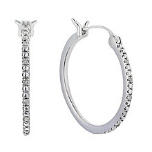 Sterling Silver Diamond Hoop Earrings - Product number 2201992
