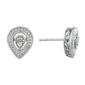 Sterling Silver Vintage Style Diamond Pear Stud Earrings - Product number 2202131