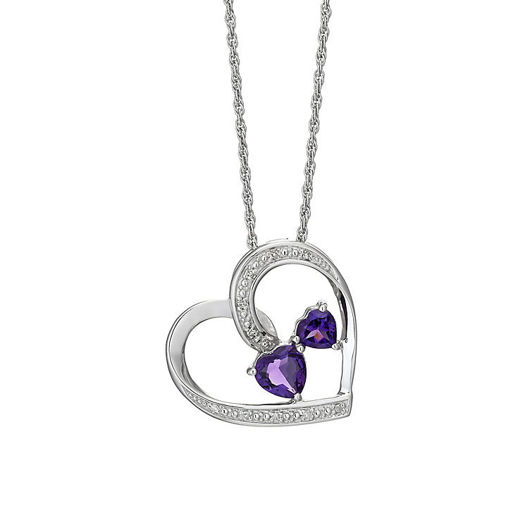 Argentium Silver Diamond & Amethyst Heart Pendant - Product number 2202166