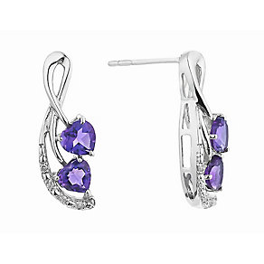 Silver Diamond & Amethyst Twist Heart Stud Earrings - Product number 2202301