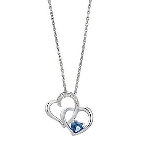 Candy Hearts Silver London Blue Topaz & Diamond Pendant - Product number 2202328