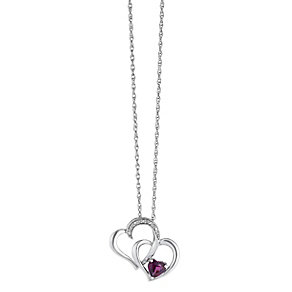 Candy Hearts Silver Rhodalite Garnet & Diamond Pendant - Product number 2202336