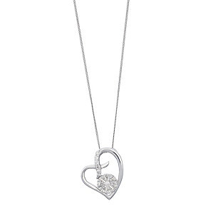 Sterling Silver Diamond Cluster Heart Kiss Pendant - Product number 2202387