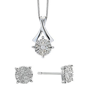 9ct White Gold 1/4 Diamond Kiss Earring & Pendant Set - Product number 2202395