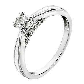 9ct White Gold 1/4 Carat Diamond Kiss Detail Solitaire Ring - Product number 2203103