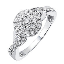 9ct White Gold Half Carat Round Diamond Cluster Ring - Product number 2203367