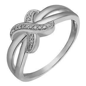 Sterling Silver & Diamond Crossover Kiss Ring - Product number 2203979