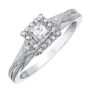 9ct White Gold 2/5 Carat Princess Cut Diamond Solitaire Ring - Product number 2204118