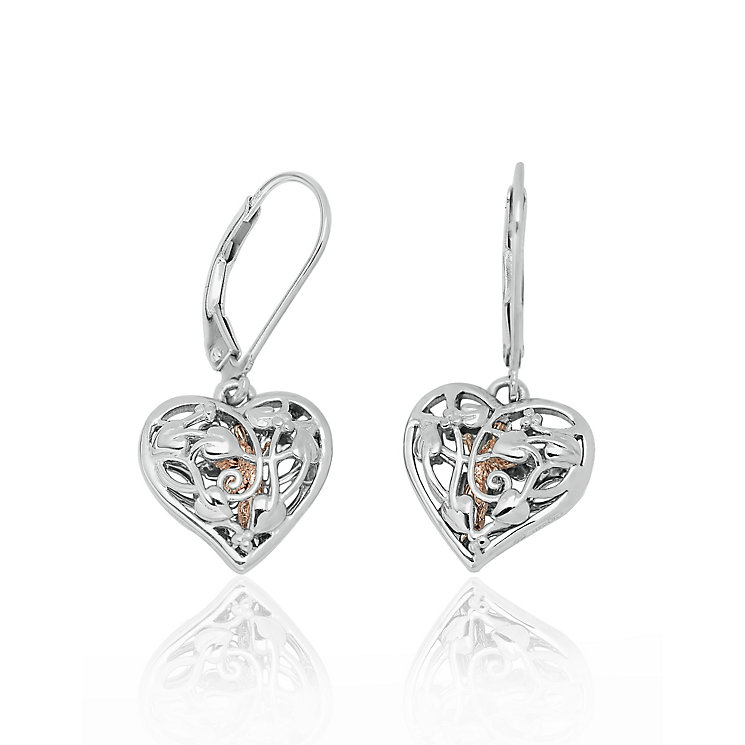 Clogau Fairy silver & 9ct rose gold heart drop earrings - Product number 2210061