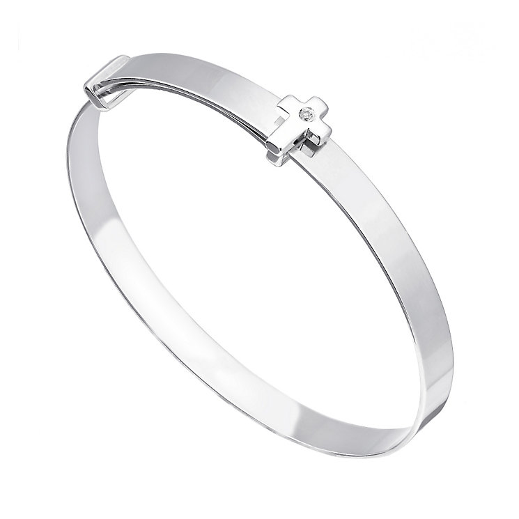 Children's Silver Diamond Set Cross Expander Bangle - Product number 2210126