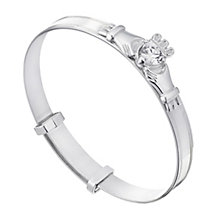 Children's Silver & Cubic Zirconia Heart Claddagh Bangle - Product number 2210134