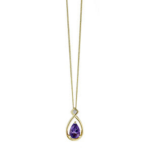 9ct Yellow Gold Pear Drop Amethyst & Diamond Pendant - Product number 2211335