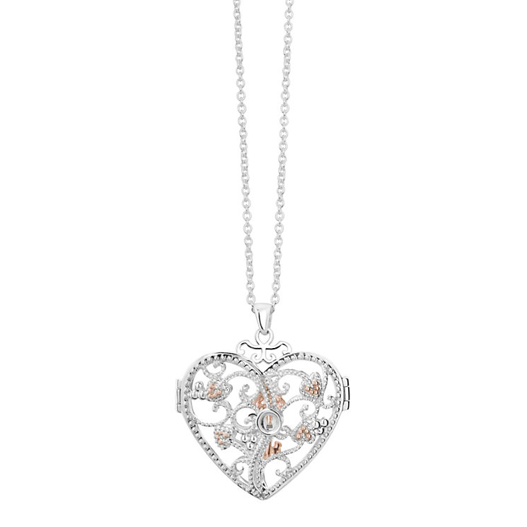 Clogau Kensington silver & 9ct rose gold heart locket - Product number 2211513