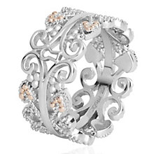 Clogau Kensington silver & 9ct rose gold ring size P - Product number 2211556