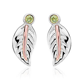 Clogau Gold Awelon silver & 9ct rose gold peridot earrings - Product number 2211661