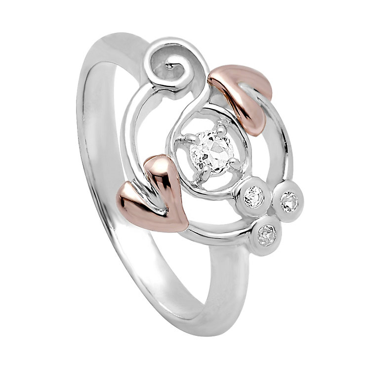 Clogau Origin silver & 9ct rose gold white topaz ring size L - Product number 2211688