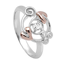 Clogau Origin silver & 9ct rose gold white topaz ring size N - Product number 2211696