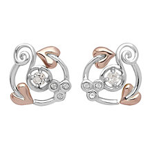 Clogau Origin silver & 9ct rose gold white topaz earrings - Product number 2211734