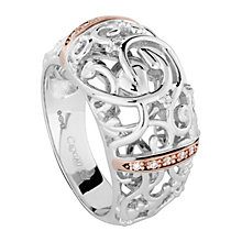 Clogau Am Byth silver & 9ct rose gold diamond ring size P - Product number 2211882