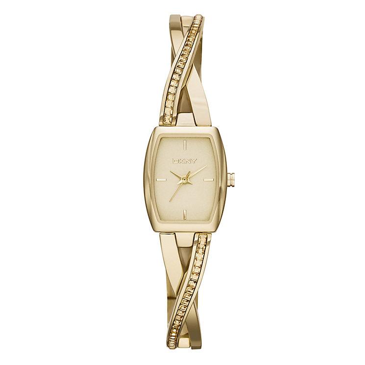 Dkny Crosswalk Ladies' Gold Tone Stone Set Bracelet Watch - Product number 2216140