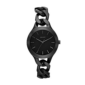 DKNY Chambers ladies' black ion-plated steel bracelet watch - Product number 2216272