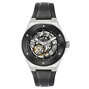 Dreyfuss & Co men's skeleton dial black rubber strap watch - Product number 2217783