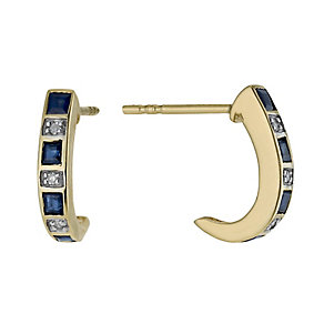 9ct gold sapphire & diamond half hoop earrings - Product number 2218062