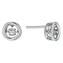 Sterling silver diamond solitaire stud earrings - Product number 2218097