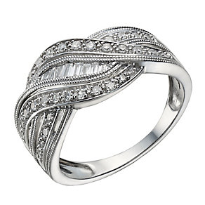 Sterling silver 1/4 carat diamond wave ring - Product number 2218127