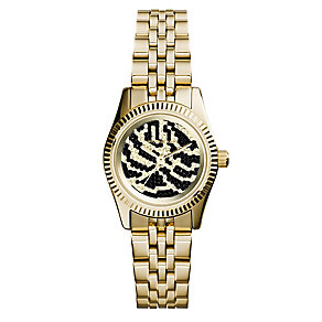 Michael Kors ladies' gold-plated zebra print bracelet watch - Product number 2218836