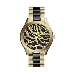 Michael Kors ladies' two colour zebra print bracelet watch - Product number 2218852
