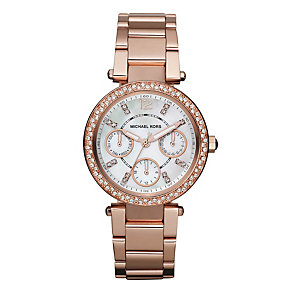 Michael Kors ladies' rose gold-plated bracelet watch - Product number 2219220