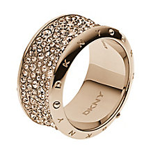 DKNY Crystal Rose Gold Tone Ring Size M - Product number 2219514