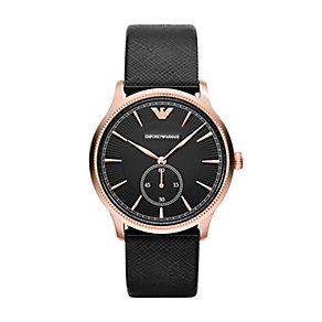Emporio Armani men's black leather strap watch - Product number 2219530