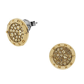 DKNY Crystal Gold Tone Stud Earrings - Product number 2219549