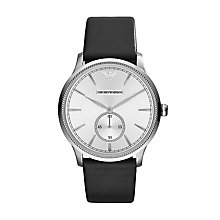 Emporio Armani Men's Black Leather Strap Watch - Product number 2219565