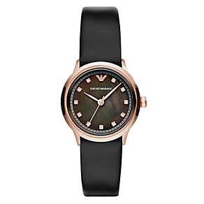 Emporio Armani ladies' black leather strap watch - Product number 2219573