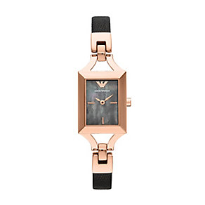 Emporio Armani ladies' black leather strap watch - Product number 2219638
